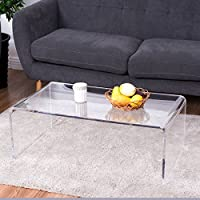 Tangkula Acrylic Coffee Table Clear Modern Home Furniture End Table Tea table Waterfall Table