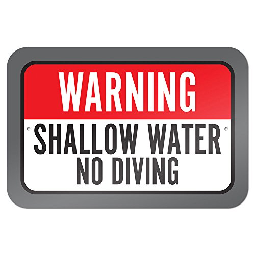 "Warning Shallow Water No Diving 9"" x 6"" Metal Sign"
