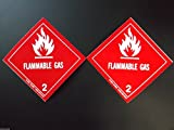 2 (Two Labels) FLAMMABLE GAS 2 Red/White 4'' x 4'' Self Adhesive Paper Sticker