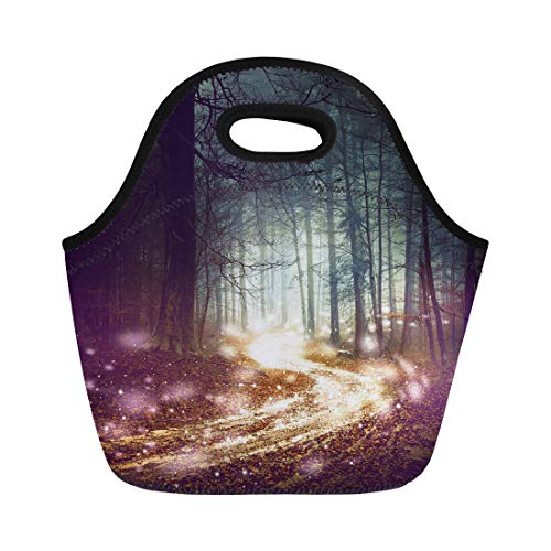 Semtomn Neoprene Lunch Tote Bag Fantasy Forest Firefly Lights Magic Colored Woodland Fairy Tale Reusable Cooler Bags Insulated Thermal Picnic Handbag for Travel,School,Outdoors,Work]()