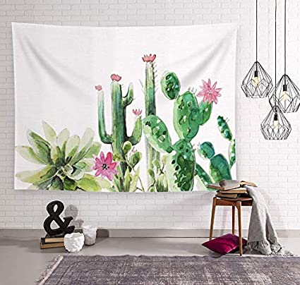 Amazon Com Melonluchi Cactus Watercolor Landscape Succulent Wall