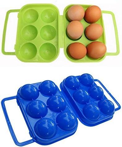 Heelinna - Estuche plegable de plástico para huevos de 6 huevos (color al azar): Amazon.es: Hogar