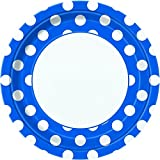 Dinner Plates 9'' 8/Pkg-Royal Blue Decorative Dots