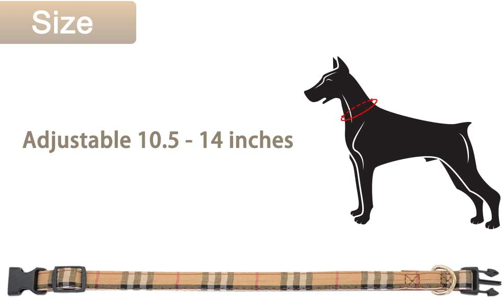 Barleygoo Bow Tie Dog Collar with Leash Set Classic Plaid Adjustable Dogs Collars with Removable Bow Tie for Small to Medium Dogs
