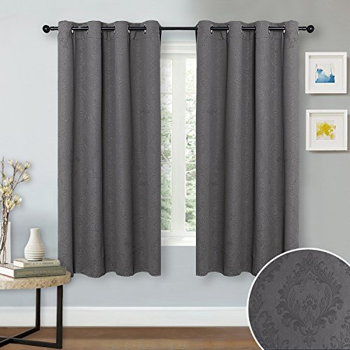 Gray Bedroom Blackout Drapery Panels - NICETOWN Home Drcoration Thermal Insulated Damask Embossed Grommet Blackout Curtains / Drapes, Fitting 34