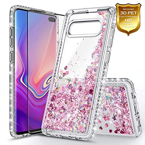 NageBee Galaxy S10+ Plus Case with Screen Protector (Full Coverage 3D PET) for Girls Women, Glitter Liquid Sparkle Floating Waterfall Durable Cute Case for Samsung Galaxy S10+ /S10 Plus -Rose Gold ()