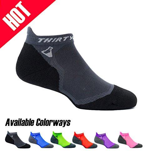 Thirty 48 Ultralight Athletic Running Socks for Men and Women with Seamless Toe, Moisture Wicking, Cushion Padding (Medium - Women 7-8.5 // Men 8-9.5, [1 Pair] Black/Gray)