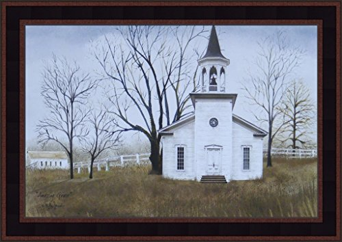 - Amazing Grace by Billy Jacobs 15x21 Country Church Primitive Folk Art Print Wall Décor Framed Picture