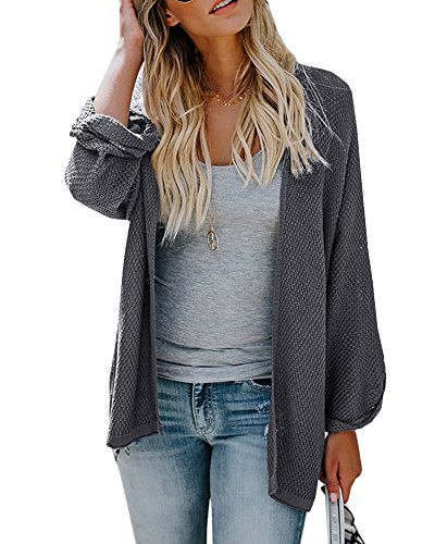 Casual Cardigan - Womens Cardigan Sweaters Oversized Lightweight Pleated Cuffs Long Casual Open Front Knit Sweater Drape Coats Dark Grey
