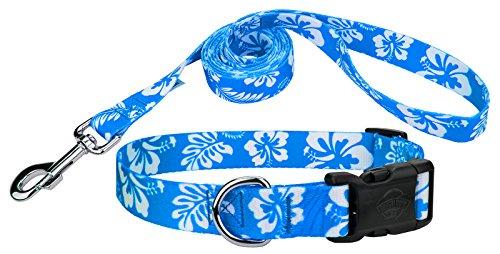 Country Brook Design | Blue Hawaiian Deluxe Dog Collar & Leash - - Aloha Pet Lead