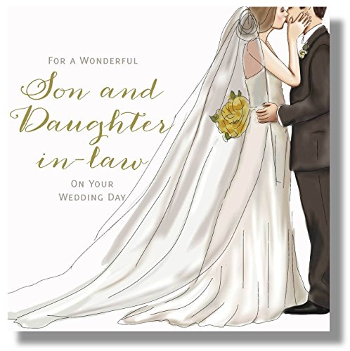 Wedding Day Card For A Son and Daughter in Law - 8.25 x 8.25 Inches