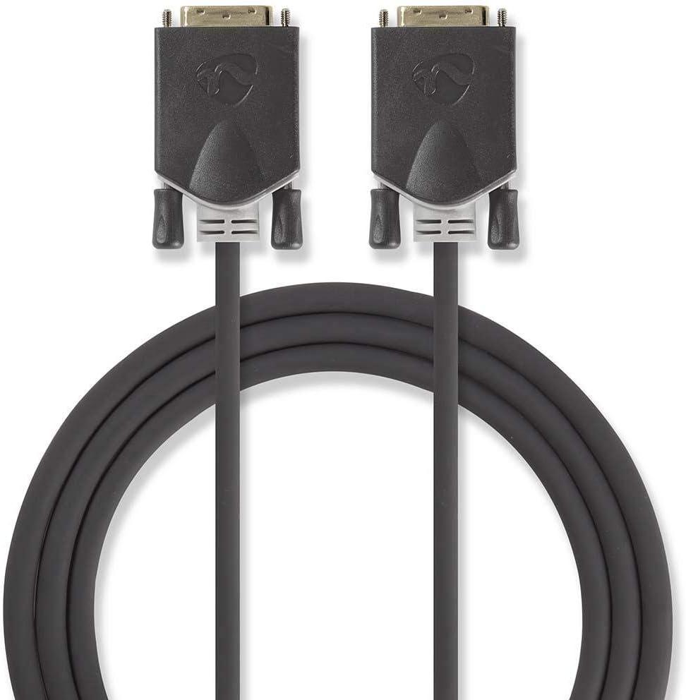 TALLA 2. Nedis CCBP32000AT20 Cable DVI | DVI-D Macho de 24+1 Pines - DVI-D Macho de 24+1 Pines | 2,0 m | Antracita