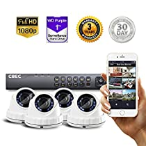 4 CH HD [Full 1080P] Security Camera System Remote iPhone Android APP HDMI Night Vision Wide Angle [1TB Purple Drive INCLUDED]