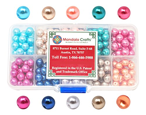 Mandala Crafts 4mm 6mm 8mm Assorted Round Colored Glass Pearl Beads Kit in Bulk for Jewelry Making (8mm, Combo 3)