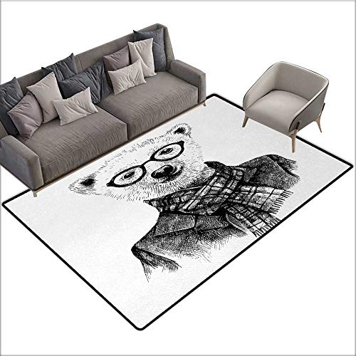 Animal Home Custom Floor mat Hand Drawn Monochrome Sketch Style Hipster Bear with Jacket Scarf Glasses 78