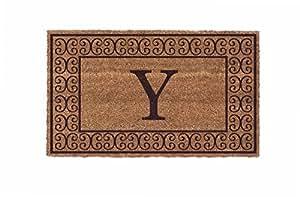 """Alfombrillas de Coco N más vbcha2236br-m-u Monogram (U) frontera Doormats, 22""""x 36"""", Natural"""