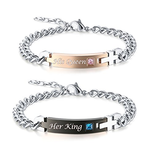 Gagafeel His Only Her One Stainless Steel Chain Couple Bracelet Gift Set for Lover