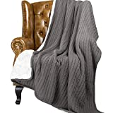 NTBAY Cable Knitted Sherpa Throw, All Seasons Collection Super Warm Reversible Fleece Blanket (60'X 78', Grey)