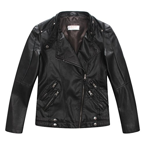 LJYH Boys Casual Faux Leather Moto Jacket Coats Kids Outerwear