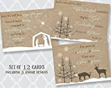 Religious Christmas Cards, Manger, Christian Holiday, Greeting Cards with Scripture, Set of 12 Assorted Printed Folding Cards with Envelopes,, Assortment Pack