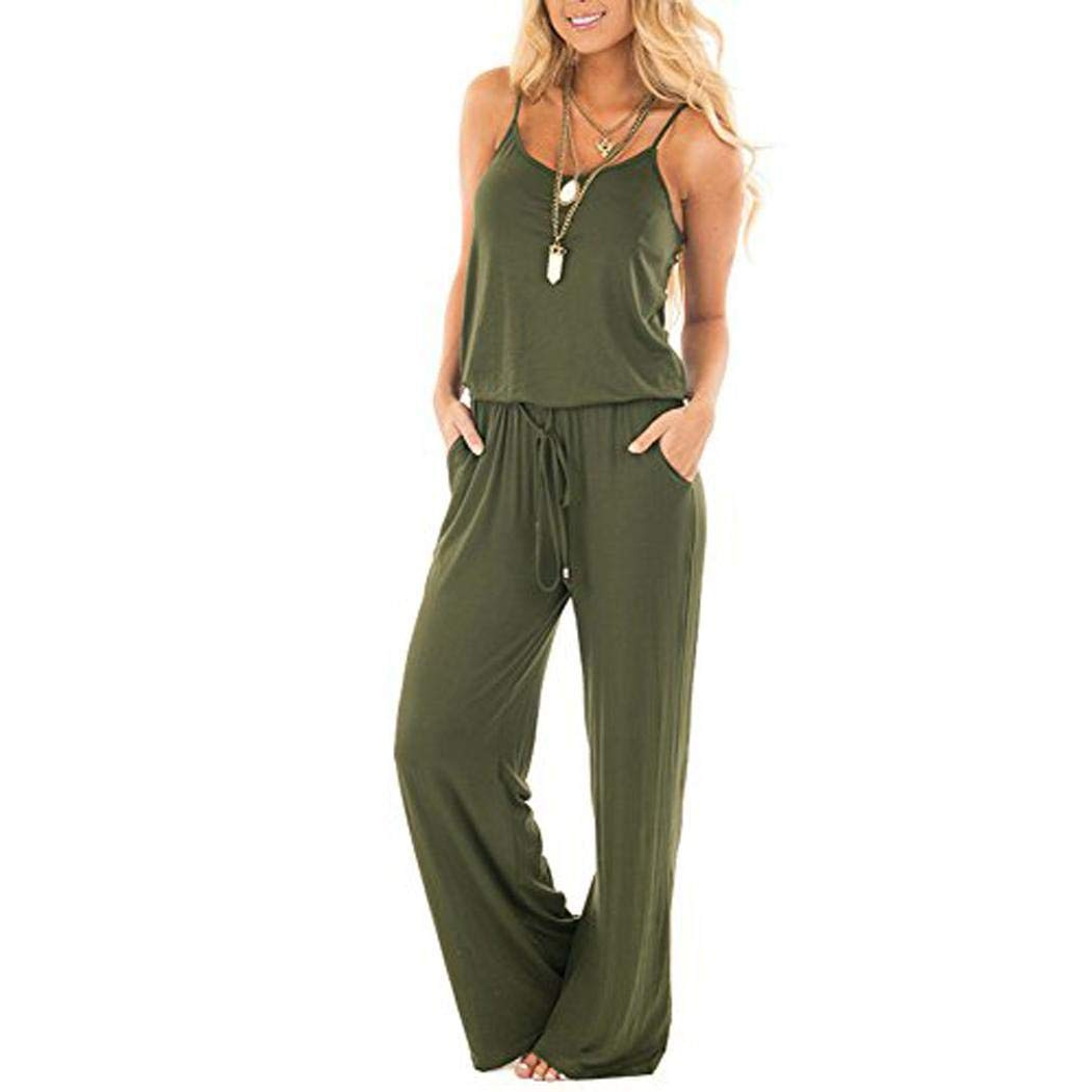 Fenido Women Casual Loose Fake Two-Piece Rompers Solid Wide Leg Pants Jumpsuit Jumpsuits /& Rompers