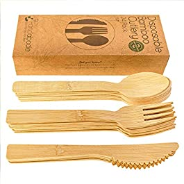 24 Disposable Bamboo Wooden Cutlery Set by PandabodeTM | Eco Friendly Fun for Party, Camping, Travel and BBQ | Large Strong Biodegradable