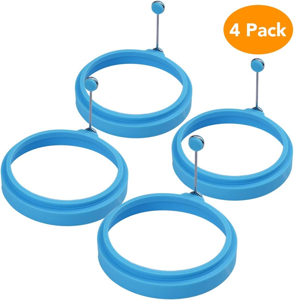 Egg Ring, McoMce Egg Cooking Rings, 100% Food Grade Round Pancake Mold BPA Free & FDA Approved, Durable & Reusable Silicone Ring Eggs, Non Stick Silicone Ring for Eggs (4 Pack, Blue)