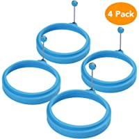 Egg Ring, McoMce Egg Cooking Rings, 100% Food Grade Round Pancake Mold BPA Free, Durable & Reusable Silicone Ring Eggs, Non Stick Silicone Ring for Eggs (4 Pack, Blue)