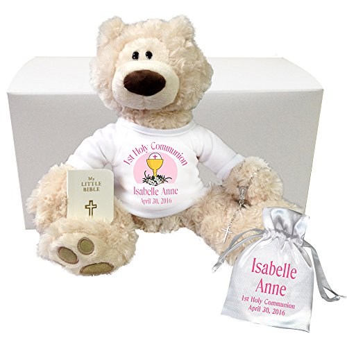 """Personalized First Communion Teddy Bear Gift Set - 12"""" Be..."""
