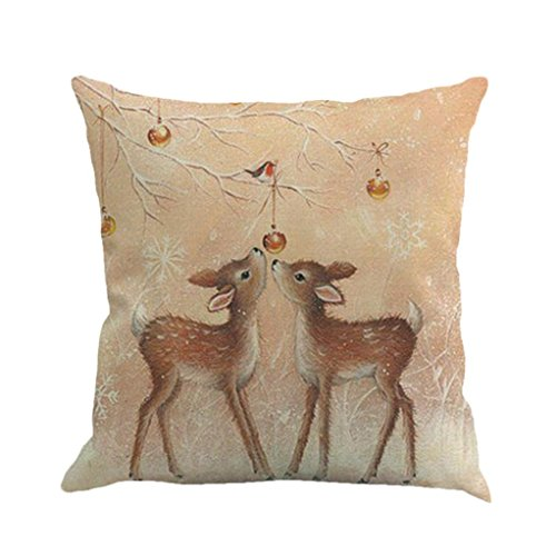 Xmas Throw Pillow Covers, Keepfit Merry Christmas Home Decor Pillow Case Holiday Season Decorations for Couch, Chair, Sofa, Assorted Designs (Reindeer) ()