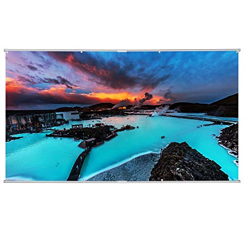 High Contrast Cinema Vision Material - 100 inch Projector Screen, 16:9 Portable Manual Pull Down Indoor Outdoor Movie Screen with Hanging Hole Grommets for Front Projection Home Theater Match Party