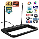 ANTV HDTV Antenna 35 Miles Range Multi-Directional Digital Rabbit Ears Indoor for UHF/VHF;1080P Table Stand/Wall Mount Antenna for Television Clearview