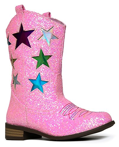 Girls' Metallic Star Western Cowboy Ryder Boots - Vegan Leather - Available in Toddler & Kids Sizes Kids Cowgirl Boots ()