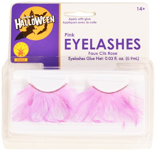 [Rubies Pink Eyelashes and Adhesive] (Family Themed Fancy Dress Costumes)