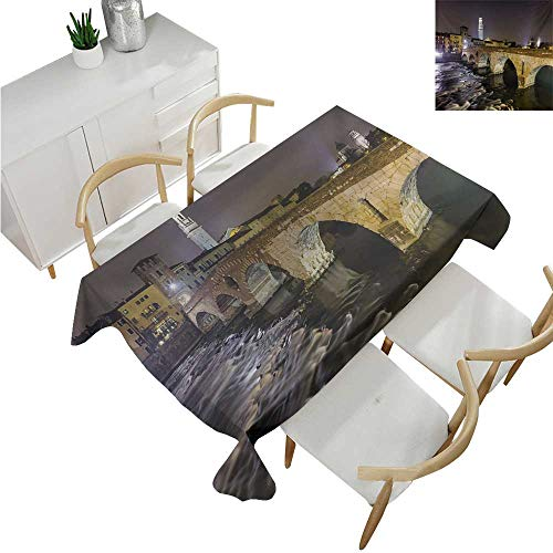 (familytaste Landscape,Fitted tablecloths,Ponte Pietra on River Adige Ancient Roman Bridge in The Old Town of Verona Italy,Tablecloths for Sale 60