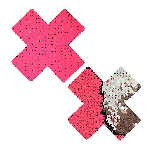 Neva Nude Bitchin' NEON Pink Silver Blacklight Flip Sequin X Factor Nipztix Pasties Nipple Covers 1/2' Sch 80 Nipple