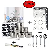 Magnetic Spice Tins Set – 12 Piece Storage and Display Kit for Herbs and Spices, Arts and Crafts, and More + FREE Spice Rack Organizer, Jar Labels, Chalk Pens, and Small Measuring Spoons by YouTeal