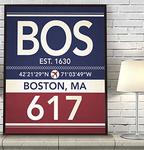 Boston Massachusetts Vintage Airport Area Code Map Coordinates Subway Art Print, UNFRAMED, Customized Colors, Christmas Father's Day Housewarming gift home decor poster, ALL - Boston Airport Map