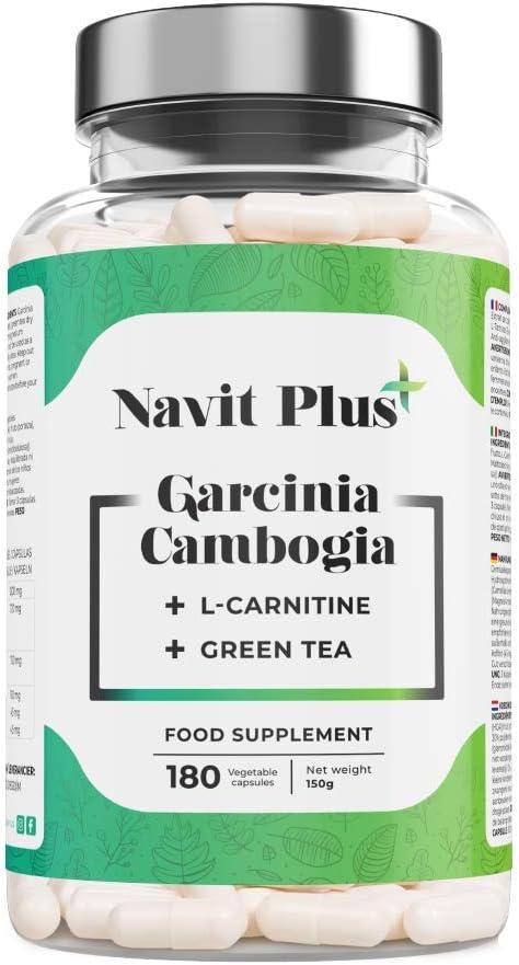 Garcinia Cambogia + L-Carnitina + Té Verde   Reductor del apetito   Código Nacional Farmacia 194557.0   Quemagrasas 100% natural   Fabricado en España  180 cápsulas vegetales   Navit Plus.