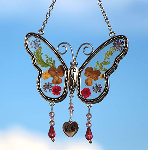 KY&BOSAM Mom Butterfly Suncatchers Stained Glass Mother Wind Chime with Pressed Flower Wings Embedded in Glass with Metal Trim Mom Heart Charm - Gifts for Mom -Mom for Birthdays Christmas (MOM)
