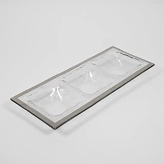 product image for Annieglass Three-Section Tray - Roman Antique (Platinum) by Annieglass