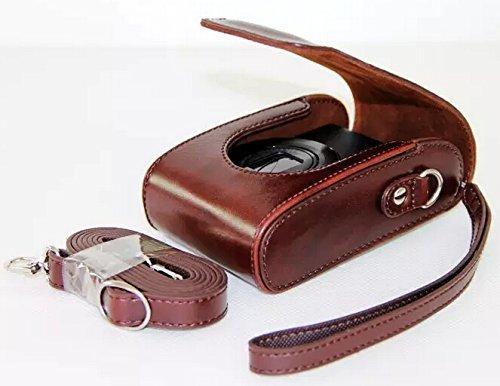 Universal PU Leather case with Shoulder Strap for Samsung WB35F, WB50F, WB150F, WB250F, WB350F, WB750, WB800F, WB850F Digital Camera (Dark Brown)