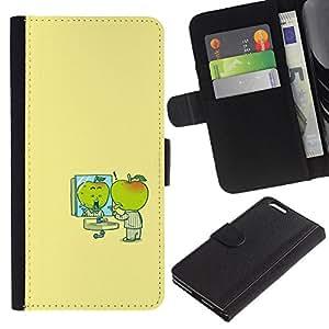 Minimalista Cartoon amarillas Niños- la tarjeta de Crédito Slots PU Funda de cuero Monedero caso cubierta de piel Para Apple (5.5 inches!!!) iPhone 6+ Plus / 6S+ Plus