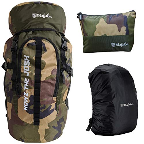 Mufubu Presents 45 Ltr Camouflage Bag || Travel Backpack || Outdoor Sport Camp Hiking Trekking Bag || Camping Rucksack with Rain Cover and Toiletry Pouch for tools and accessories.