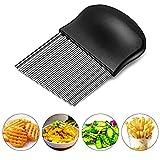 Starchef Stainless Steel Crinkle Cutter Potato Chips Cutter Vegetable Wavy Blade Cutter(Black) …