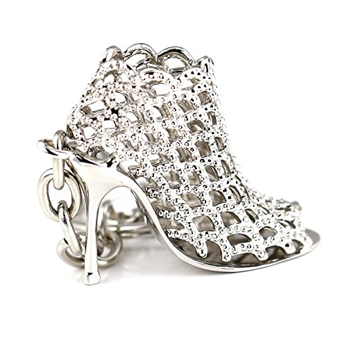 Fashion Lady's Hollow Elegant High Heels Shoes Keychains Girl Women Gift (Silver) -