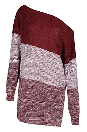 - Womens Off The Shoulders 3 Colours Blocks Jumper Ladies Chunky Knitted Dress