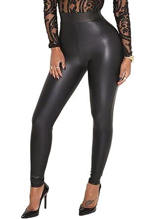 Romacci Femme Sexy Legging PU Elastique Taille Haute Pantalons Crayon Faux Cuir  Noir dcebfd1e71b