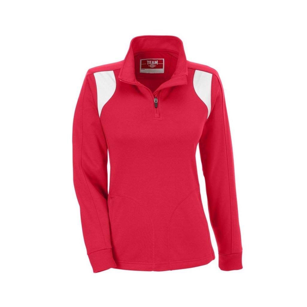 Ash City Apparel Team 365 Ladies Elite Performance Quarter Zip (X-Small, Sport Red/White)