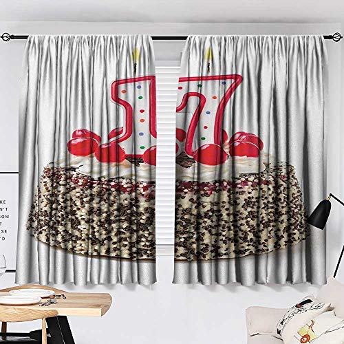 Jinguizi 17th Birthday Curtain Door Panel Birthday Cake with Cherries and Sprinkles and Candles Photo Artwork Print Party Darkening Curtains Multicolor W55 x L39 by Jinguizi (Image #1)